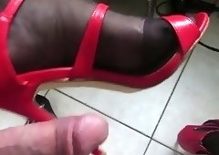 teasing red high heel sandal