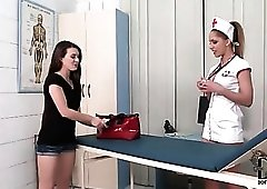 Nurse Melanie Gold plays with a patient