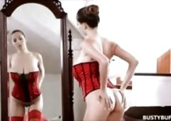 Busty Buffy fucks wearing red corset and stockings