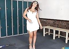 Curvy tennis babe does a delightful striptease