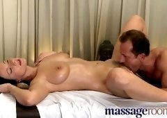 Spicy unhaved mom having a real massage sex