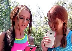 Sporty cuties on the tennis court fucking their trainer