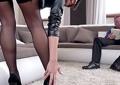 Marvelous footjob performed by a babe in stockings Nikita Bellucci