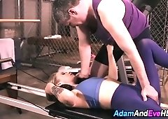 Babe strokes cock in gym