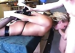 Slut in a collar lets him fuck her throat