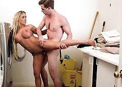 Busty milf had sex in the bathroom