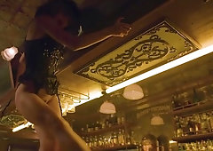 Sexy bartender does a lingerie striptease at work