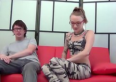 Paige just can't wait to show her shaved beaver to the nerdy guy!
