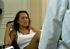 Nice ass Kira Kener with fake tits having her pussy licked by doctor