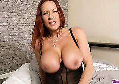 Big breasted alluring redhead Faye Rampton sucks a toy like a real dick