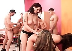 Bisexual bottom butt fucked in sexy orgy