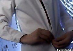 Chinatsu Nakano stripping seductively in a locker room