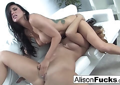 Busty babes Romi and Alison like to make love when they are horny