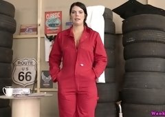 Jaw dropping worker from tire store Kylie K gets naked and shows her perfect assets