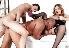 Two sexy bisexual guys and one hot redhead babe start wicked FMM threesome