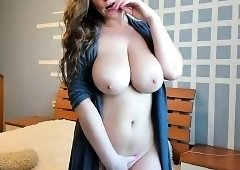 Big breasted amateur mom sensually touches herself on webcam